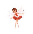 happy flying fairy spreading magical dust cartoon vector image vector image