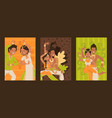 indian dancers set banners vector image vector image