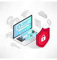 isometric internet security laptop isolated icons vector image vector image