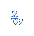 mermaid line icon concept mermaid flat vector image