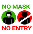 no mask entry sign for covid19 corona virus vector image