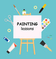 painting lessons easel for painting workshop vector image vector image