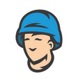 peacemaker in blue helmet cartoon vector image vector image