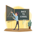 pupil at geometry lesson class blackboard vector image