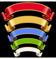 Ribbons set Multicolored banners isolated on black vector image vector image