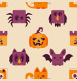 seamless background with halloween icons vector image vector image