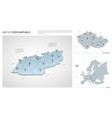 set czech republic country isometric 3d map vector image