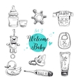 set highly detailed hand drawn baby vector image