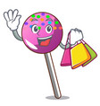 shopping lollipop with sprinkles character cartoon vector image