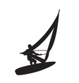 Silhouette of a windsurfer on a board for windsurf vector image