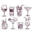 sketch cocktails hand drawn cocktail and alcohol vector image vector image