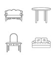 sofa armchair table mirror furniture and home vector image vector image