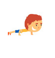 sportive boy doing push up kids physical activity vector image vector image