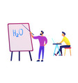 teacher pointing to board with water formula and vector image