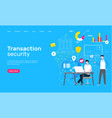 transaction security web page global network vector image vector image