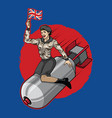 uk pin up girl ride a nuclear bomb vector image vector image