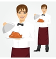 waiter with tray serving roasted poultry vector image vector image