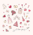wedding simple objects collection vector image