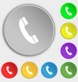 Call icon sign Symbol on eight flat buttons vector image