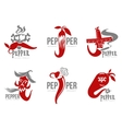 Set of chili pepper logo vector image