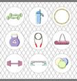 sport icon set fitness equipment vector image