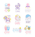 baby care set for logo design hand drawn vector image