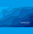 blue background with paper cut shapes vector image vector image