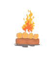 burning bonfire campfire logs cartoon vector image vector image