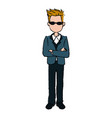 business man cartoon standing people employee vector image vector image