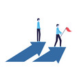 businessmen with flag and arrows financial vector image
