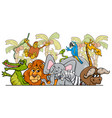 cartoon african safari wild animals group vector image