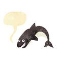 cartoon shark with speech bubble vector image vector image