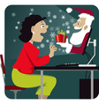 Christmas shopping online vector image vector image