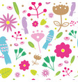 colorful cute pattern with birds and flowers vector image