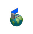 computer and earth computerization planet vector image