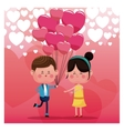 couple loving pink balloons rain heart background vector image vector image