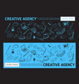creative agency office web banner design with vector image