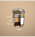 cut cardboard glass with latte coffee drink with vector image