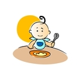 Cute little baby sitting eating its food vector image vector image