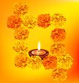 decorative diya with flowers vector image vector image