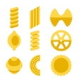 different types pasta icons set vector image