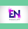en e n purple letter logo design with liquid vector image vector image