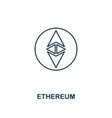 ethereum outline icon monochrome style design vector image vector image