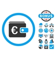 Euro Purse Flat Icon with Bonus vector image vector image