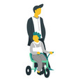 father and son on bike walking fatherhood and vector image vector image