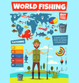 fishing sport infographic with fish catching chart vector image vector image