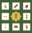 Flat icon meal set of meat tart smoked sausage vector image