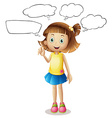 Girl with four speech bubbles vector image vector image