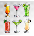 Hand drawn of set of cocktails vector image