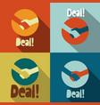 handshake deal icons - retro flat design symbol vector image vector image